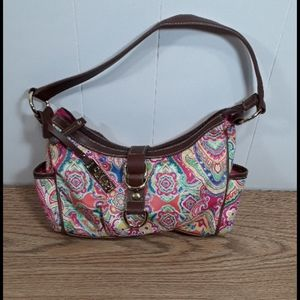 Chaps multicolored purse with brown leather trim